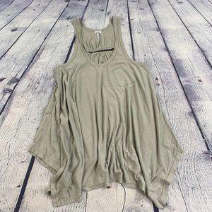 Splendid Flowy Hi Low Tank Top Shirt Gray